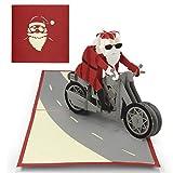 Elegante Weihnachtskarte von Urhome® I Weihnachtsmann auf Motorrad I 3D Pop-Up Klapp-Karte I aufwendige Handarbeit - sehr edel I Weihanchtsdeko I mit Umschlag