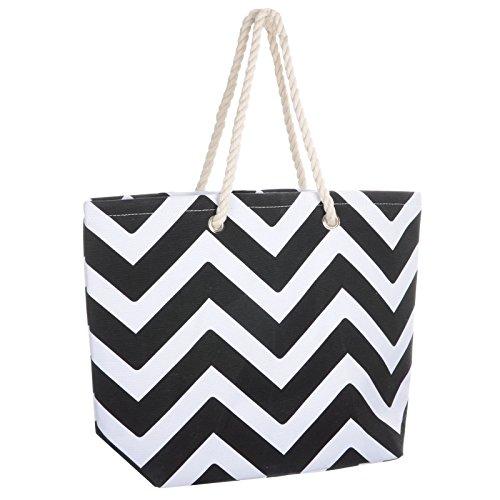 ladies-black-chevron-canvas-beach-shoulder-bag-tote-shopping-reuseable-handbag