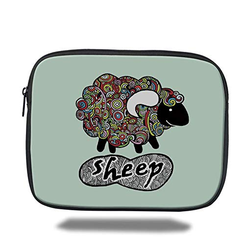 Tablet Bag for Ipad air 2/3/4/mini 9.7 inch,Indie,Hipster Doodle Funny Sheep with Colorful Spiral Swirls Drawing Style Comic Country,Multicolor,3D Print