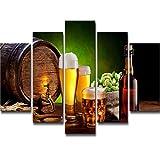 tableau Décoration de la chambre de la cave à vin Bouteille de baril de bière,...