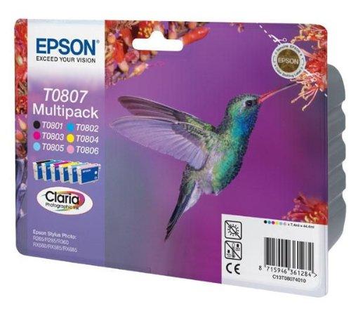 Encre d'origine EPSON Multipack Colibri T0807 : cartouches Noir, Cyan, Magenta, Jaune, Cyan clair, Magenta clair
