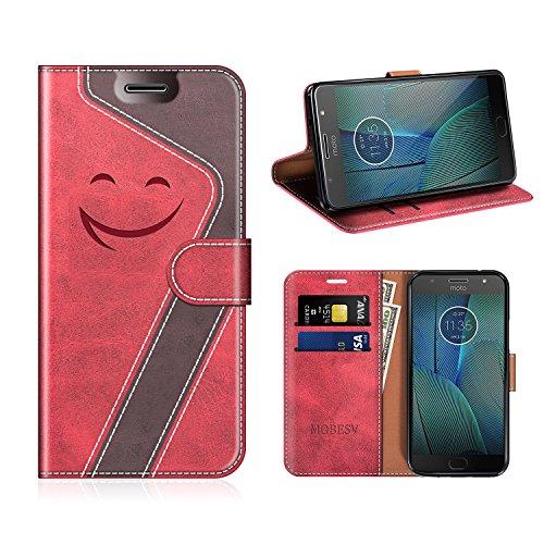 MOBESV Smiley Motorola Moto G5S Plus Hülle Leder, Motorola Moto G5S Plus Tasche Lederhülle/Wallet Case/Ledertasche Handyhülle/Schutzhülle für Motorola Moto G5S Plus, Rot/Dunkel Violett