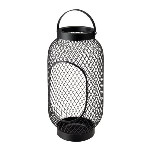 Laterne für Block Kerze, toppig IKEA, Farbe: Schwarz, Größe 36cm