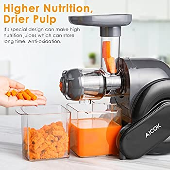 Juicer, Slow Masticating Juice Extractor With Reverse Function, Aicok Cold Press Juicer With Quiet Motor, Juice Jug & Brush For High Nutrient Juice, Bpa Free 1