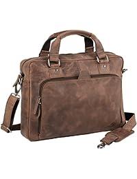 3ec56f824512c Laptoptasche Umhängetasche Notebooktasche Businesstasche Aktentasche Leder  Büffel Vintage braun Laptop 14 Zoll - 14