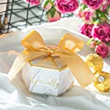 Nouveau Multicolor Hexagon Paper Candy Boxes avec Ruban Baby Shower Favour Boxes...