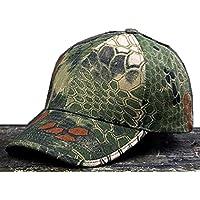 Noga - Gorra con visera estilo militar de camuflaje en bosques y exteriores con diseño pitón, sobria, para pesca, caza y senderismo, woodland python Camouflage