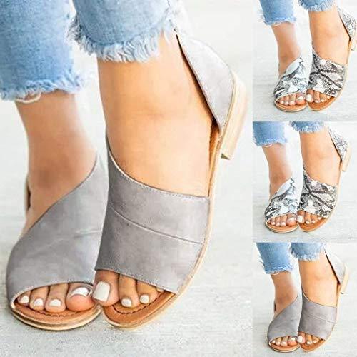 Hilotu sandali piatti da donna sandali senza cuciture semplici antiscivolo sandali di cuoio accogliente di personalità di estate della spiaggia (color : grigio, size : 37 eu)