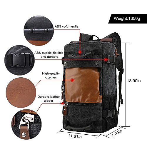Best canvas backpack in India 2020 MOCA 4in1 Canvas casual Backpack Vintage Military Messenger Hiking Camping outdoor Trip Tour Travel Duffel Shoulder Casual Bag BackPack Rucksack 0208 (Inexperienced) Image 4
