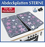 Wenko 2521485500 Herdabdeckplatte Universal Sterne für alle Herdarten, Gehärtetes Glas, 2-er Set, rosa, 52 x 30 x 5,5 cm