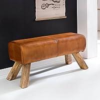 FineBuy Design Turnbock Sitzbank Echtleder Braun 90 x 30 x 43 cm | Turnhocker Bank Lederbank | Hocker Garderobenbank Sitzhocker Springbock Turnbank