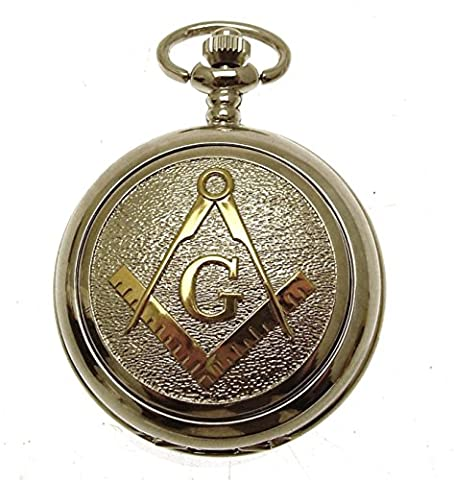 Masonic Pocket Watch Silver Two Tone Design Mother of Pearl Engraving Included Design 70