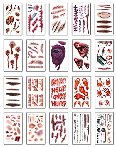 heekpek Temporäre Tattoos Halloween Zombie Scars Vampire Tattoo Temporäre Tattoos Make-up für Halloween Party Prop und Cosplay Aufkleber Kostüm Makeup Stützen Vielzahl von Optionen (Stil B)