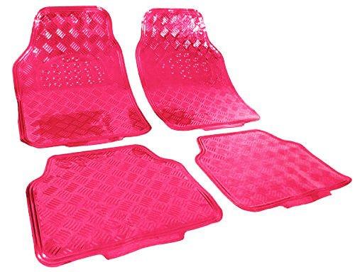 WOLTU AM7161 Auto Fußmatten Matten , ALU Look Chorm optik , Universal Riffelblech Pink