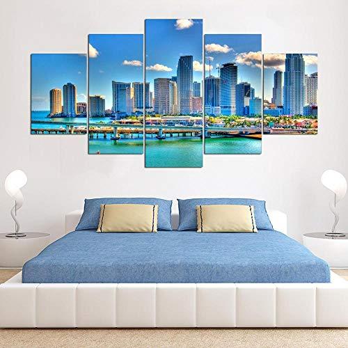 HD Printed Decor Living Room Wall 5 PieceMiami Florida City Downtown Scenery Art Poster Immagini modulari