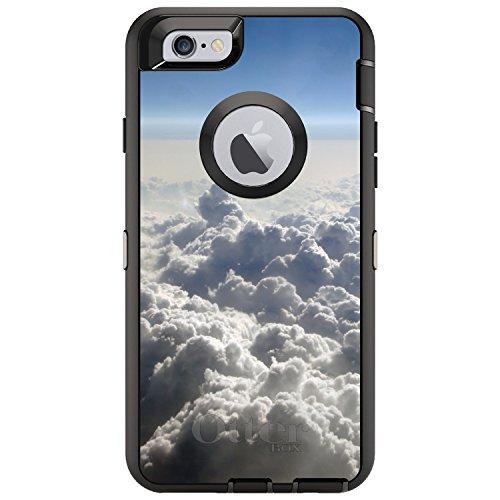 DistinctInk Fall für iPhone 6 Plus / 6S Plus-Otterbox Defender Gewohnheits-Fall Blauer Himmel über Wolken auf Schwarz-Fall - Otterbox-fälle 6 Iphone Blau
