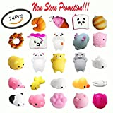 Package includes: 18 Animal Squishies, mini seal squishies,rabbit squishies,cat squishies, panda squishies, duck squishies,pigs quishies and so on,which are made of silicone.    . 6 Food Related Slow Rising Squishies like loaf, ice cream cone,bread,d...