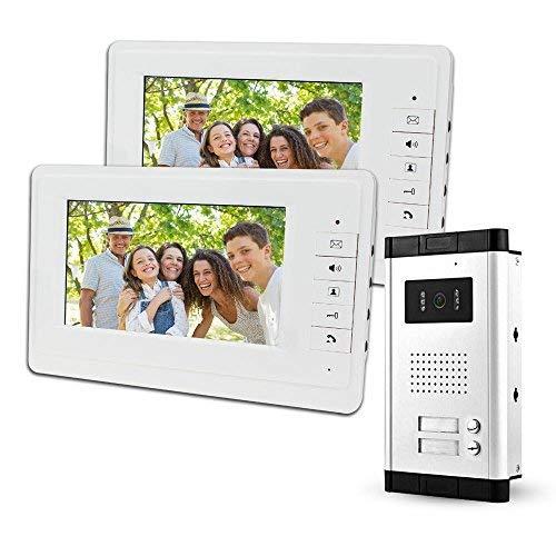 LIBO 7'Sistema Videocitofonico Cablato 2 Monitor Due Pulsanti Chiamata con Visione Notturna, Can Control 2 Alloggiato per multi Appartamento/Famiglie