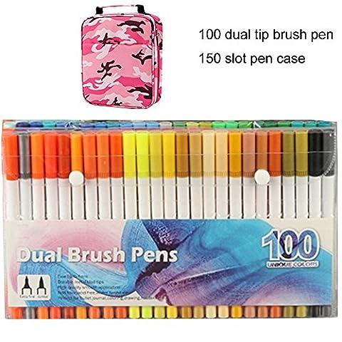 WCOCOW 100 couleurs stylo gel à deux pointes une pointe de pinceau et une autre pointe fine pour le coloriage pour adultes meilleur pour la coloration Dessin Peinture (100Couleurs +Pink