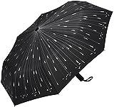 PLEMO Fancy Raindrops Automatic Folding Travel Umbrella Auto Open and Close, Black