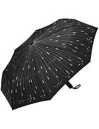 PLEMO Paraguas de Viaje Gotas de Lluvia Plegable Automático