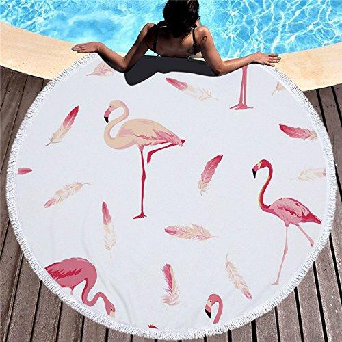 feelum Neueste Style Fashion Flamingo 450g Rund Strandtuch mit Quasten Mikrofaser Seaside holiday150cm Picknickdecke 450g/500g Travel Zubehör A2