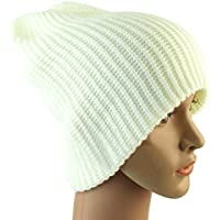 Beanie caldo - All4you Knit di inverno caldo adulto Unisex sci cappello reversibile Slouchy morbido tinta Cap