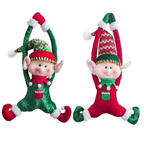 kende Weihnachtselfen Set von 2 Jungen und Mädchen Weihnachten Tür hängende Ornamente Home Decor Plüsch Zeichen 16-Inch / 40CM ()