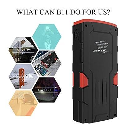 51vntUGEUJL. SS416  - Beatit D11 800 A pico 18000 mAh 12 V arrancador de coche portátil (hasta 7,5 L de gas o 5,5 L diésel) con Smart Jumper Cables Auto batería Booster Power Pack
