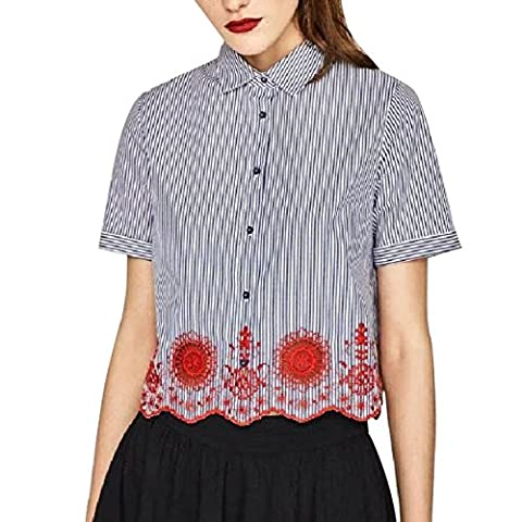ROMANTIC BEAR Women Teen Embroidered Striped Short Sleeve T-shirts Tops Blouse