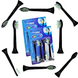 DiamondClean Black Replacement Heads for Philips Sonicare DiamondClean Replacement HX6064 , Fully Compatible with The Following Philips Electric ToothBrush Models: DiamondClean, FlexCare, FlexCare Platinum, FlexCare(+), HealthyWhite, 2 Series, EasyClean and PowerUp, 8 Count