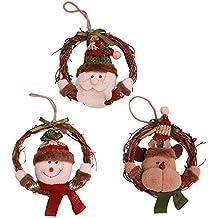 Kesote Adornos Colgantes de Árbol de Navidad Accesorios Decorativos Redondos con Santa, Renos y Muñecos