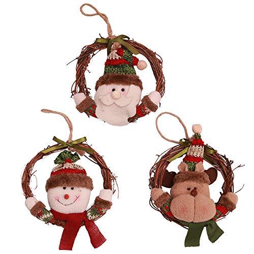 Kesoto ornamenti pendenti di albero di natale decorativi acessori rotondi con babbo natale, renna e pupazzo di neve, decorazioni per albero di natale, finestre e porte, set di 3
