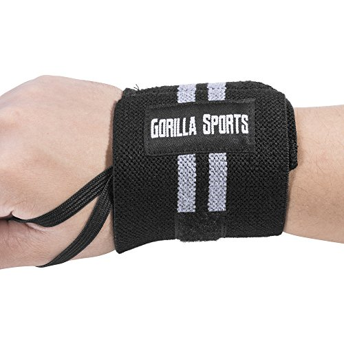 GORILLA SPORTS Handgelenk-Bandagen (2er Set) Wrist Wraps 30cm - Profi Handgelenkstütze Fitness, Bodybuilding, Cross Training, Krafttraining Farbe Schwarz/Grau