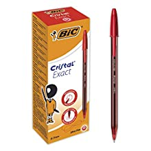 BIC Crystal Exact Ballpoint Pens Fine Tip red