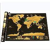 Planisfero Mondo da Grattare Poster Mappa del Mondo - Regalo da Viaggio Ideale per Amanti di Viaggi - Gratta la Tua Via nel Mondo, Cartina Mondo Utilizzare Come diario da Viaggio (82.5 x 59.4 cm)