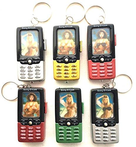 6 X Schlüsselanhänger Handy mit Frau oben OHNE Sexy by schenkfix