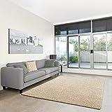 Shaggy-Teppich   Flauschiger Hochflor fürs Wohnzimmer, Schlafzimmer oder Kinderzimmer   einfarbig, schadstoffgeprüft, allergikergeeignet in Farbe: Creme; Größe: 40 x 60 cm