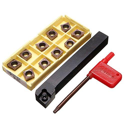 TOOGOO Titolare SCLCR1212H09 taglierina tornio con 10pz CCMT09T304-PM Lame Inserire CNC 100 mm