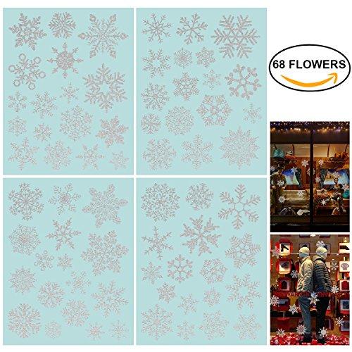 68 Funkeln Fensterdeko Schneeflocken NICEXMAS Fensterbilder Schneeflocken - Statisch Haftende PVC Aufkleber (Fenster Aufkleber Schneeflocke)