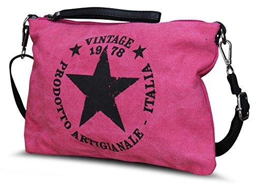 STERN DAMEN LUXUS TASCHE STAR STOFFTASCHE CANVAS SHOPPER HANDTASCHE (M3 Pink) Pink Camouflage Messenger Bag