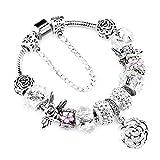 YIYIYYA 925 Encantos De Plata De Moda Pulsera Brazalete para Mujer Flor Cristal Beads Fit Pandora Pulseras Joyas