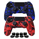 Hikfly Silikon mit Gummi-Öl-Gel-Controller Deckel Hautschutz Fall Faceplates Kits für Sony Playstation 4 PS4 / PS4 Slim / PS4 Pro Controller Videospiele (2x Controller Camouflage Abdeckung mit 8 x FPS Pro Daumen Griffe Caps)(Blau,Rot)