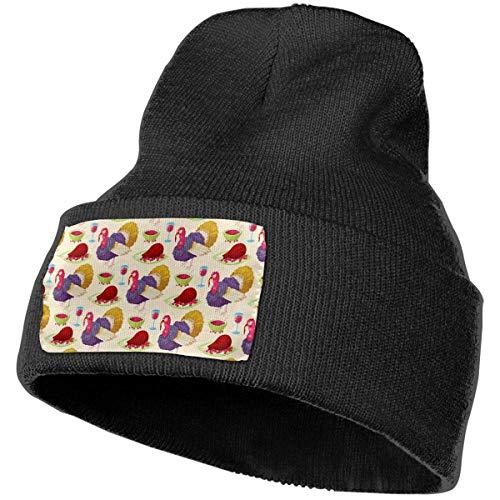 Thanksgiving Day Turkey Wine Beanie Hat Men Women Plain Cuff Cycling Slouchy Hats