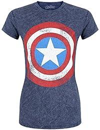 The Avengers Women39;s Marvel Avengers Assemble Distressed Shield Blue T-Shirt