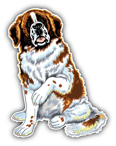 Tiukiu Saint Bernard Dog Animal Vinyl Decal Sticker for Laptop Fridge Guitar Car Motorcycle Helmet Toolbox Luggage Cases 6 Inch In Width -