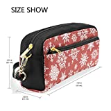 Pencil Case Large Capacity Holders Christmas Hite Snowflakes On Red Background Pen Stationery Pouch Bag with Zipper Makeup