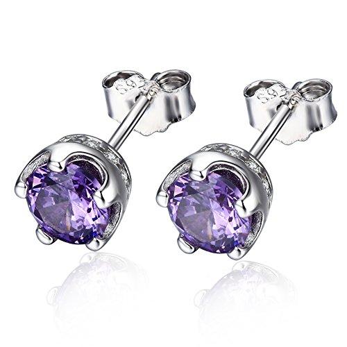F.ZENI Ohrringe Damen Ohrstecker 925 Sterling silber königliche Kronen Ohrringe Funkeln Zirconia 5mm Ohrringe für Damen (Mädchen Schatz Königin Kostüme)