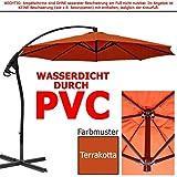 habeig® Luxus Ampelschirm 3m Terrakotta rot WASSERDICHT durch PVC Schirm 300cm Sonnenschirm