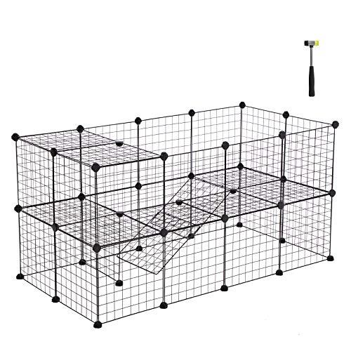 Songmics recinzione per animali a 2 piani recinto personalizzabile per animali di piccola taglia, cuccioli e criceti, include un martelletto di gomma, per uso interno 143 x 73 x 71 cm nero lpi02h